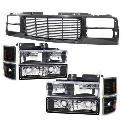 1996 chevy tahoe black wave grille and headlights set. Black Bedroom Furniture Sets. Home Design Ideas