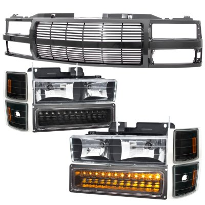 Chevy Suburban 1994-1999 Black Billet Grille and Headlights LED Bumper Lights