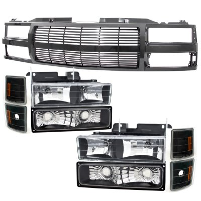 1999 Chevy Tahoe Black Grille Billet Bar and Headlights Set