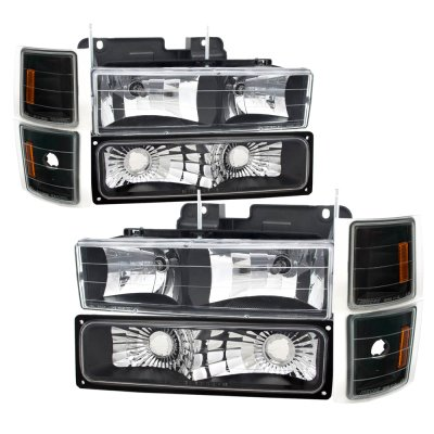 Chevy Tahoe 1995-1999 Black Euro Headlights and Bumper Lights Set