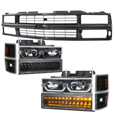 1994 Chevy Blazer Full Size Black Replacement Grille And Led Drl Headlights Per Lights A128ldts184 Topgearautosport