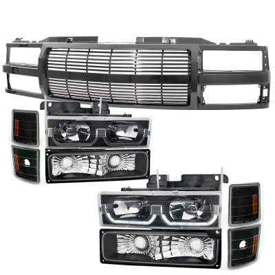 Chevy 1500 Pickup 1994-1998 Black Billet Grille and LED DRL Headlights Set