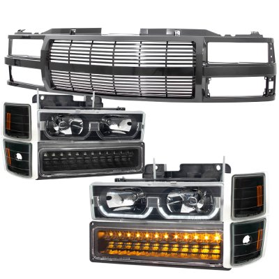 GMC Suburban 1994-1999 Black Billet Grille and LED DRL Headlights Bumper Lights