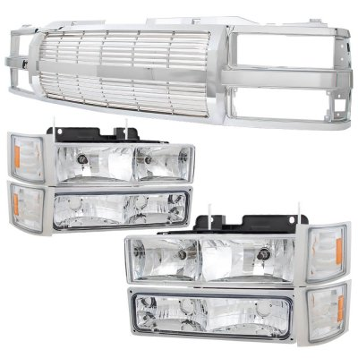 Chevy 1500 Pickup 1994-1998 Chrome Billet Grille and Headlights Set