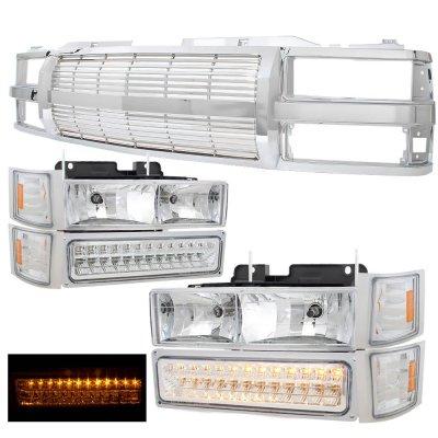 GMC Suburban 1994-1999 Chrome Billet Grille and Headlights LED Bumper Lights