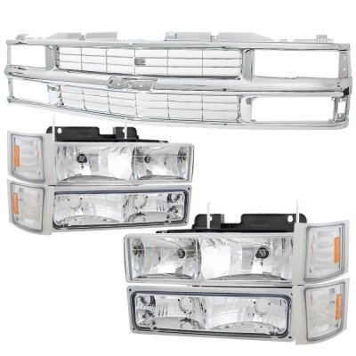 Chevy 1500 Pickup 1994-1998 Chrome Grille and Euro Headlights Set