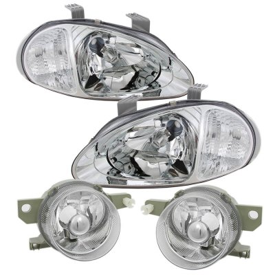 Honda Del Sol 1993-1995 Clear Euro Headlights and Fog Lights Set