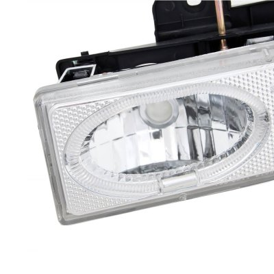 Chevy Tahoe 1995-1999 Clear Dual Halo Projector Headlights with Integrated LED