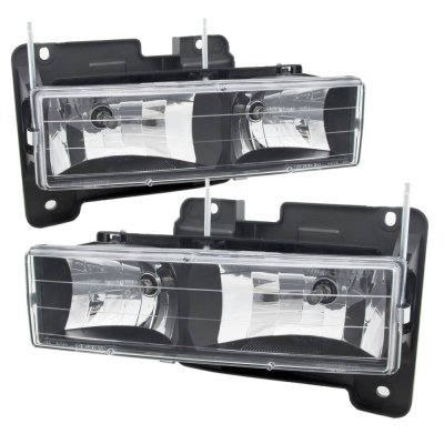 Chevy Blazer Full Size 1992-1994 Black Euro Headlights