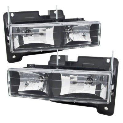 Chevy Silverado 1994-1998 Black Euro Headlights