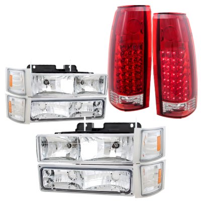 Chevy Silverado 1994-1998 Headlights and LED Tail Lights Red Clear