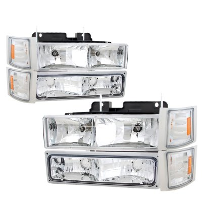 GMC Yukon 1994-1999 Clear Euro Headlights and Bumper Lights Set