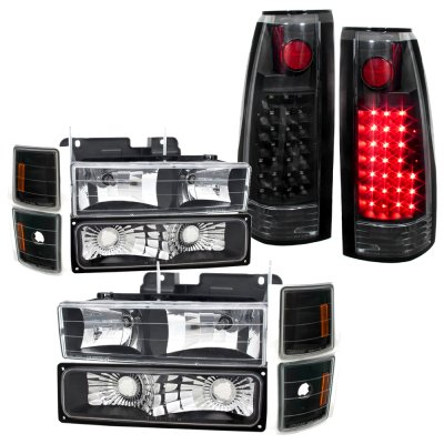 1996 chevy silverado black headlights and led tail lights. Black Bedroom Furniture Sets. Home Design Ideas