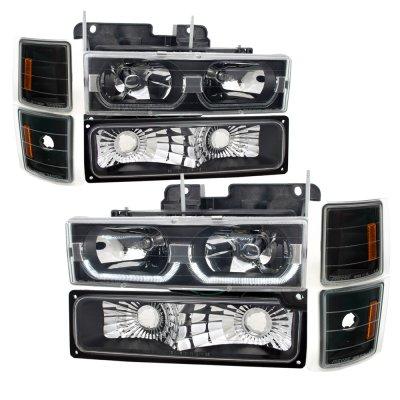 1994 Chevy Blazer Full Size Black Led Drl Headlights And Per Lights