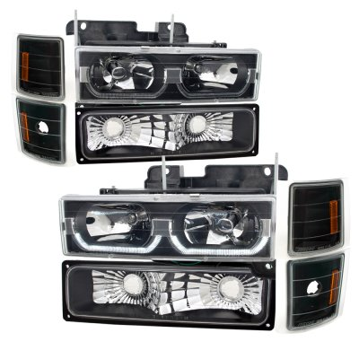 1999 Chevy Tahoe Black LED DRL Headlights and Bumper Lights