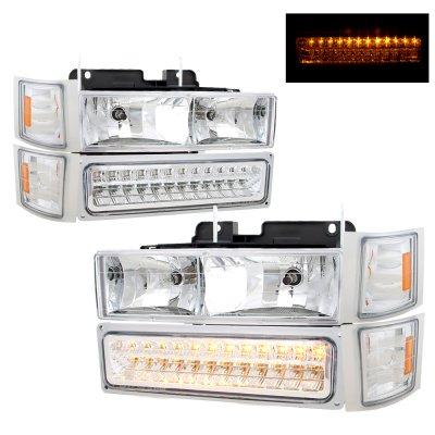 GMC Sierra 1994-1998 Headlights and LED Bumper Lights