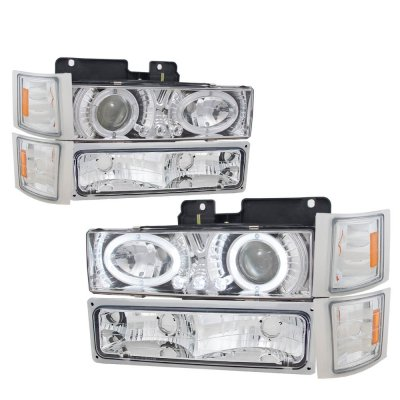 GMC Sierra 1994-1998 Clear Halo Headlights and Bumper Lights