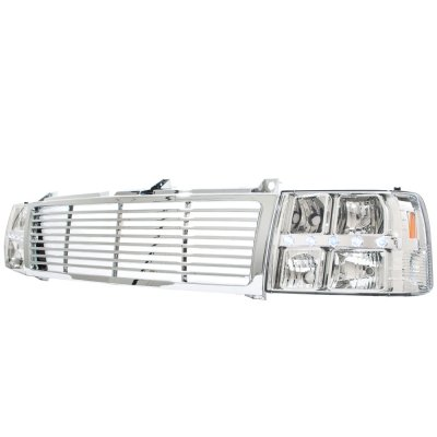 Chevy Tahoe 2000-2006 Chrome Grille and Headlights LED DRL