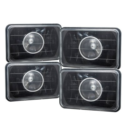 1981 Plymouth Sapporo 4 Inch Black Sealed Beam Projector Headlight Conversion Low and High Beams