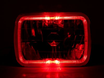 Acura Integra 1986-1989 Red Halo Black Chrome Sealed Beam Headlight Conversion