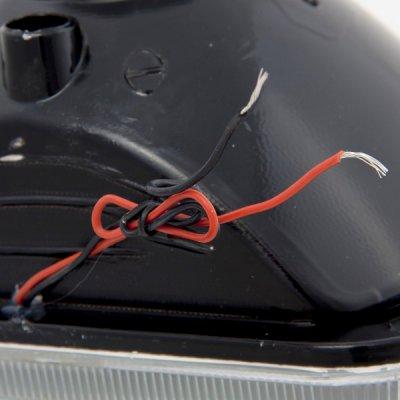 Dodge Ram 250 1981-1993 Red Halo Black Chrome Sealed Beam Headlight Conversion
