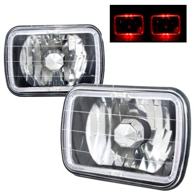 1987 Dodge Ramcharger Red Halo Black Chrome Sealed Beam Headlight Conversion