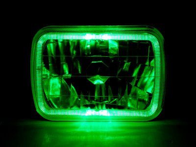 1979 Ford Bronco Green Halo Black Chrome Sealed Beam Headlight Conversion