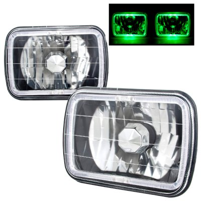 Jeep Wrangler 1987-1995 Green Halo Black Chrome Sealed Beam Headlight Conversion