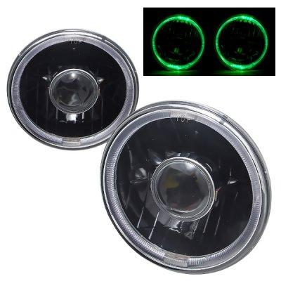 Chevy Nova 1971-1978 Green Halo Black Sealed Beam Projector Headlight Conversion