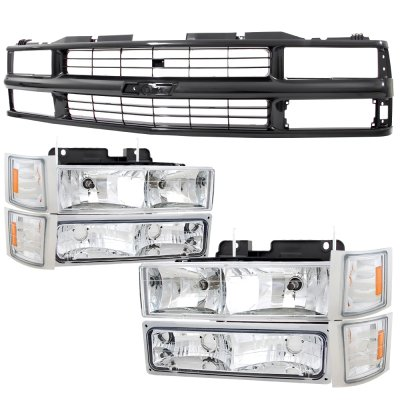 1994 Chevy 1500 Pickup Black Grille and Clear Headlights Set