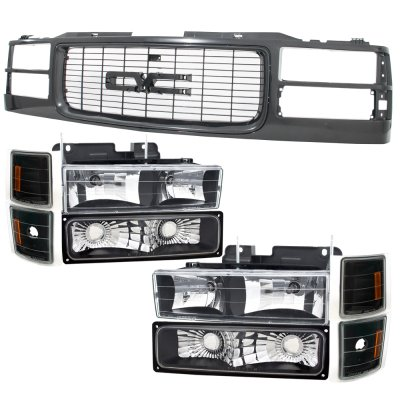GMC Sierra 3500 1994-2000 Black Grille and Headlights Set