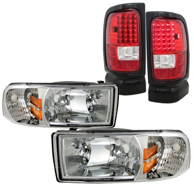 Dodge Ram 3500 1994 2002 Clear Headlights And Led Tail Lights Red A128y8ev213 Topgearautosport