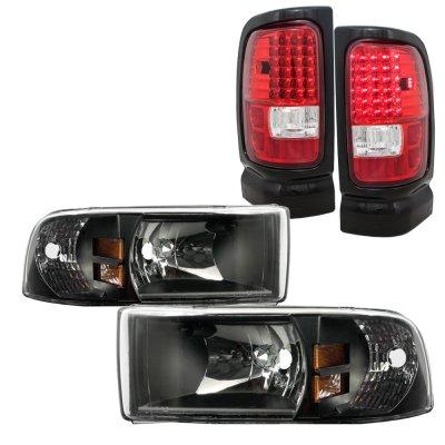 Dodge Ram 1994 2001 Black Headlights And Led Tail Lights Red Clear A128gx1i213 Topgearautosport
