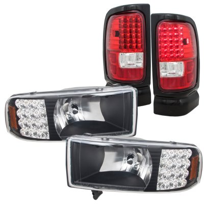 Dodge Ram 1994 2001 Black Headlights With Led Corner Lights And Tail Red Clear A128yjip213 Topgearautosport