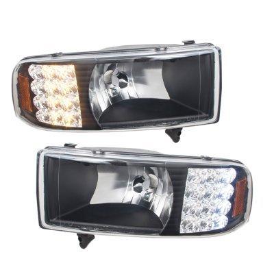 Dodge Ram 2500 1994 2002 Black Headlights With Led Corner Lights And Tail