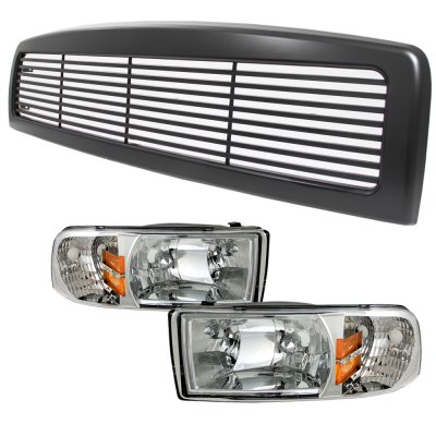 Dodge Ram 2500 1994 2002 Black Billet Grille And Clear Euro Headlights Set A137nu6k150 Topgearautosport