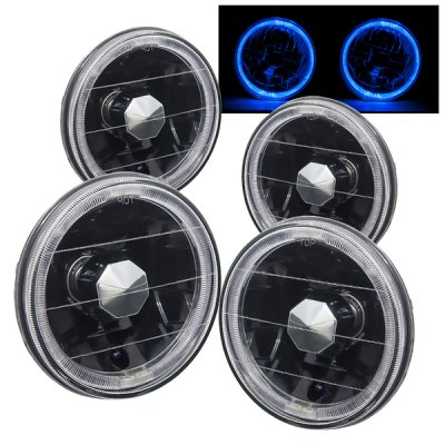 Dodge Charger 1966-1974 Blue Halo Black Sealed Beam Headlight Conversion Low and High Beams