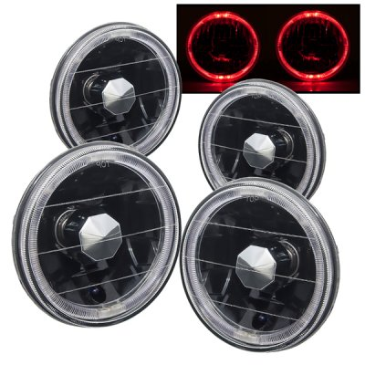 Chevy El Camino 1964-1970 Red Halo Black Sealed Beam Headlight Conversion Low and High Beams