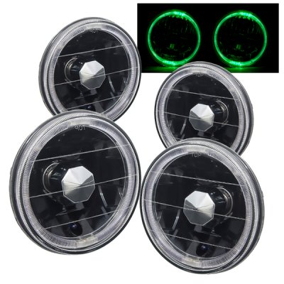 Oldsmobile Delta 88 1965-1975 Green Halo Black Sealed Beam Headlight Conversion Low and High Beams