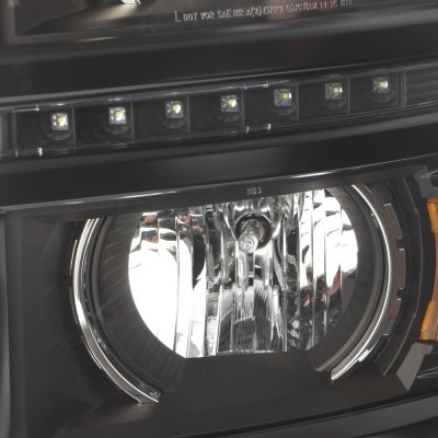 Chevy Silverado 1500 2014-2015 Black Projector Headlights LED DRL