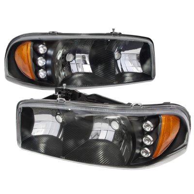gmc sierra 1999 2006 black headlights led daytime running lights a128xmvx102 topgearautosport. Black Bedroom Furniture Sets. Home Design Ideas