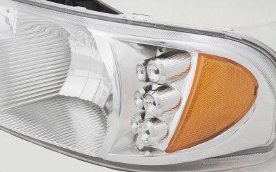 GMC Sierra 1500HD 2001-2007 Clear Headlights LED Daytime Running Lights