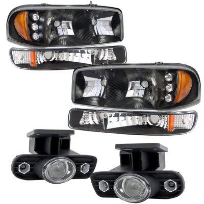 GMC Sierra 2500 1999-2002 Black LED DRL Headlights Set and Projector Fog Lights