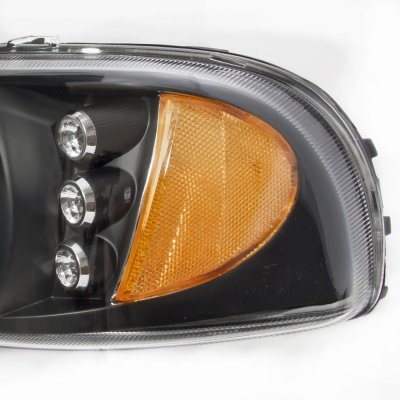 GMC Sierra 3500 2001-2002 Black LED DRL Headlights Set and Projector Fog Lights