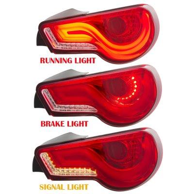 Subaru BRZ 2013-2020 JDM LED Tail Lights Red Clear