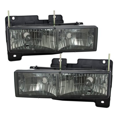 Chevy 1500 Pickup 1988-1998 Smoked Euro Headlights