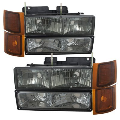 Chevy Tahoe 1995-1999 Black Grille and Smoked Headlights Set