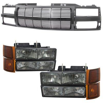 Chevy Silverado 1994-1998 Black Billet Grille and Smoked Headlights Set