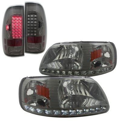 2002 Ford F150 Smoked LED DRL Headlights and LED Tail Lights