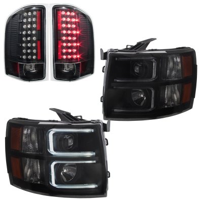 Chevy Silverado 2007-2013 Black Smoked DRL Projector Headlights and Black LED Tail Lights